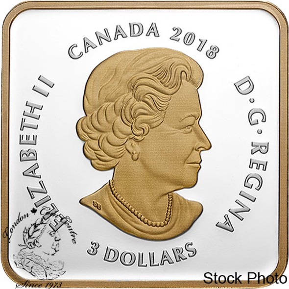 Canada: 2018 $3 Canadian Coasts: Pacific Sunset Pure Silver Gold-Plated Coin