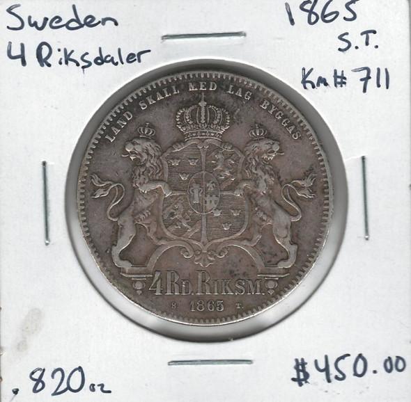 Sweden: 1865 4 Riksdaler