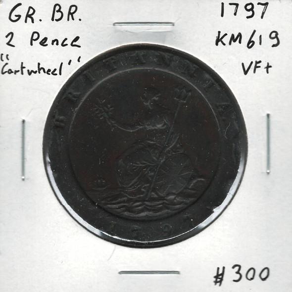 Great Britain: 1797 2 Pence Cartwheel VF+