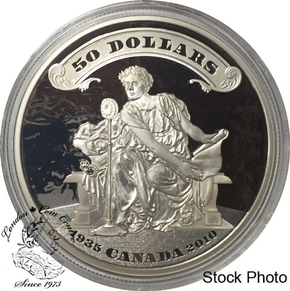 Canada: 2010 $50 75th Anniversary of the First Bank Notes 5 Ounce Silver Coin