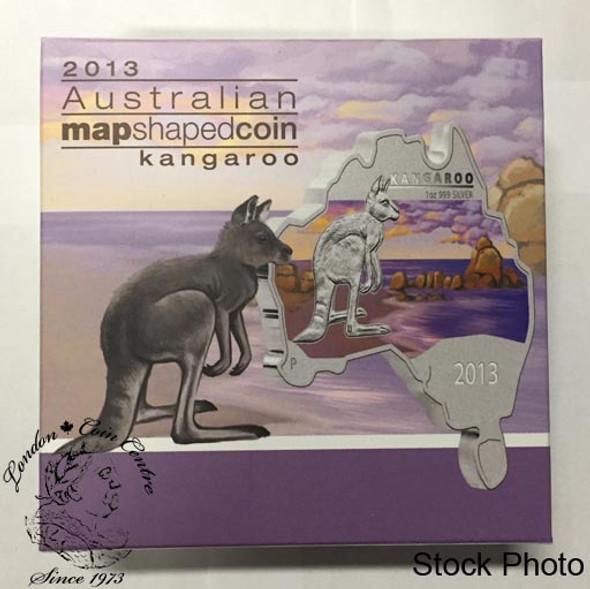 Australia: 2013 Map Shaped Coin: Kangaroo 1 oz Silver Coin