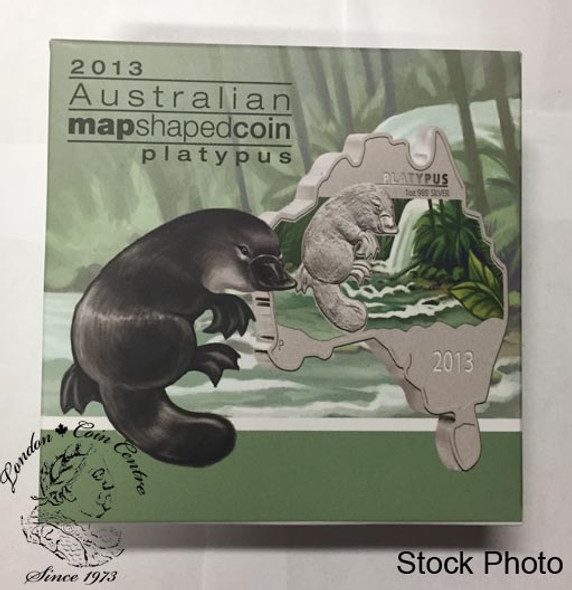 Australia: 2013 Map Shaped Coin: Platypus 1 oz Silver Coin