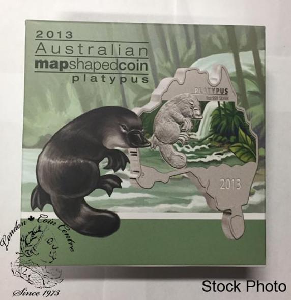 Australia: 2013 Map Shaped Coin: Platypus 1 oz Silver Coin