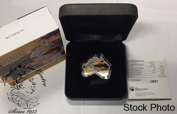 Australia: 2014 Map Shaped Coin: Crocodile 1 oz Silver Coin