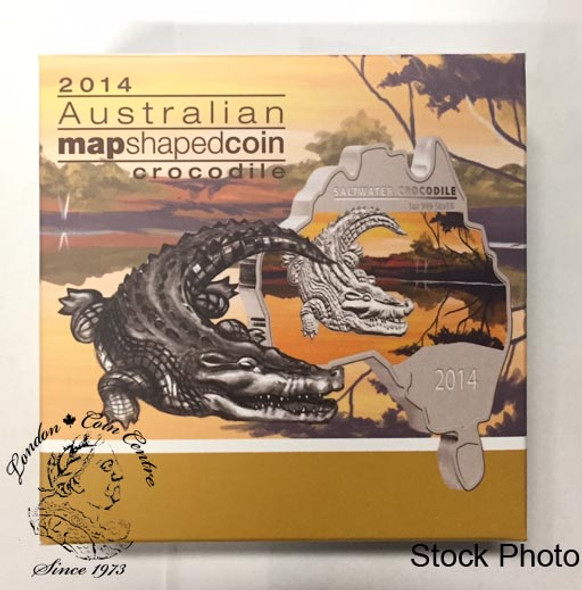 Australia: 2014 Map Shaped Coin: Crocodile 1 oz Silver Coin