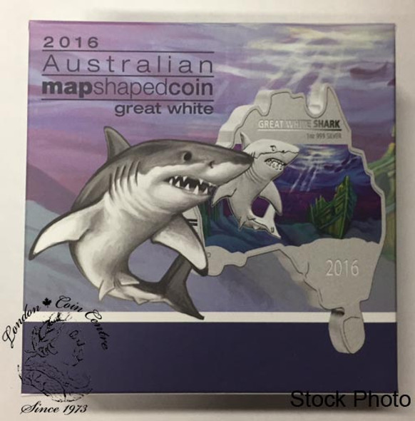 Australia: 2016 Map Shaped Coin: Great White Shark 1 oz Silver Coin