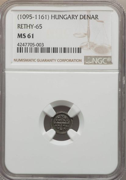 Hungary: 1095 - 1161 AD Denar Rethy-65 NGC MS61