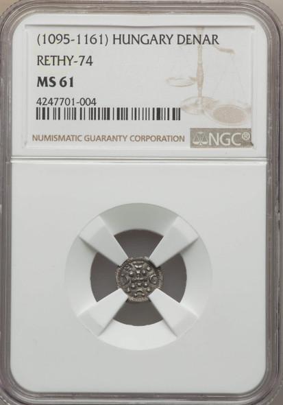 Hungary: 1095 - 1161 AD Denar Rethy-74 NGC MS61 Lot#2