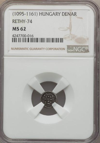 Hungary: 1095 - 1161 AD Denar Rethy-74 NGC MS62 Lot#2