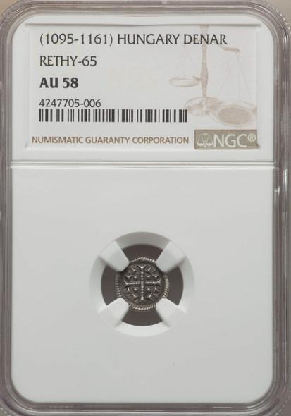 Hungary: 1095 - 1161 AD Denar Rethy-65 NGC AU58