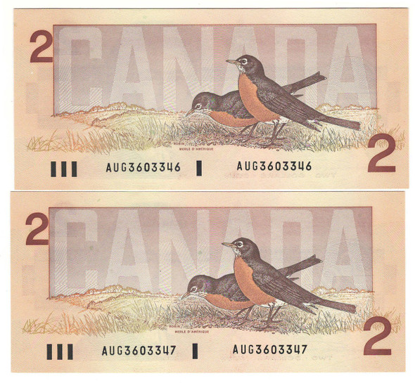 Canada: 1986 $2 Bank Of Canada Banknotes AUG (2 Notes in Sequence)