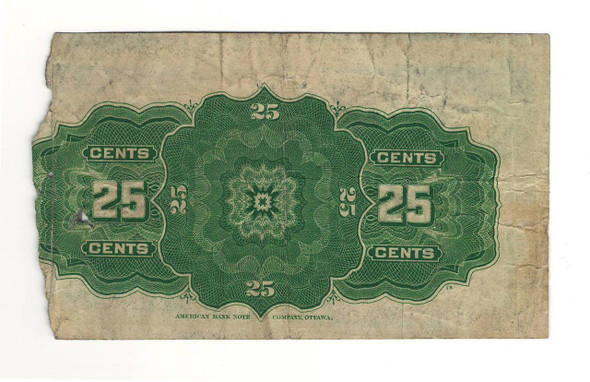 Canada: 1900 25 Cent Banknote Dominion of Canada DC-15b lot#18