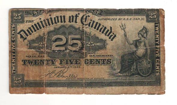 Canada: 1900 25 Cent Banknote Dominion of Canada Boville