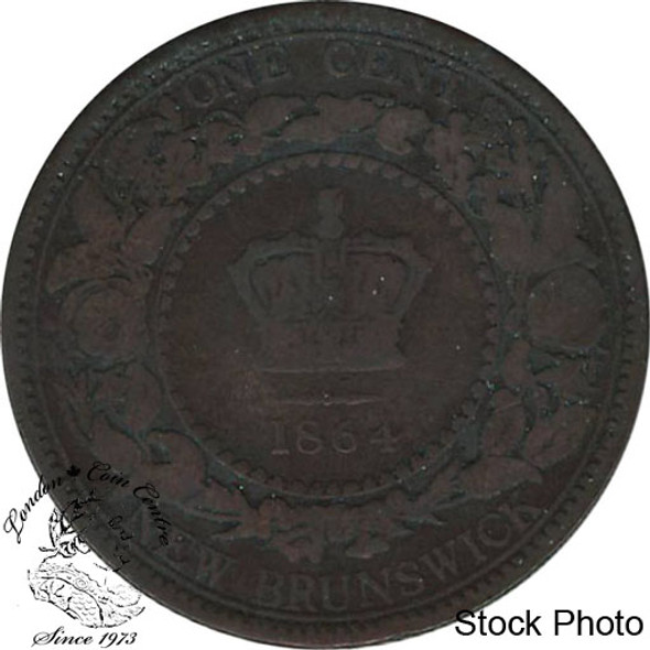 Canada: New Brunswick 1864 Large 1 Cent Short 6 VG8