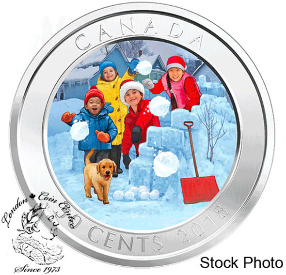 Canada: 2018 50 Cents 3D Snowball Fight Lenticular Coin