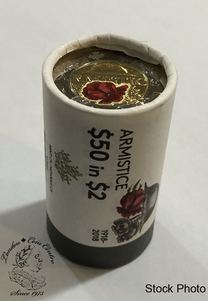 Canada: 2018 $2 Toonie Armistice Poppy Special Wrap Roll with Coloured & Non Coloured Coins