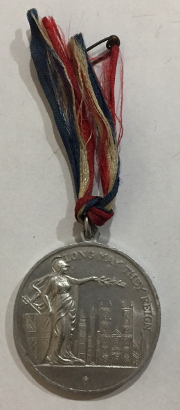 1937 Aluminum Coronation Medal George VI & Queen Elizabeth with Ribbon Lot#2