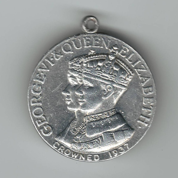 1937 Aluminum Coronation Thin Medal George VI & Queen Elizabeth with Ribbon