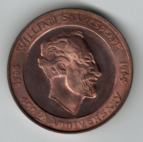 1564 to 1964 400th Anniversary William Shakespeare Medal