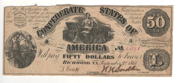 United States: 1861 $50 Confederate States Richmond