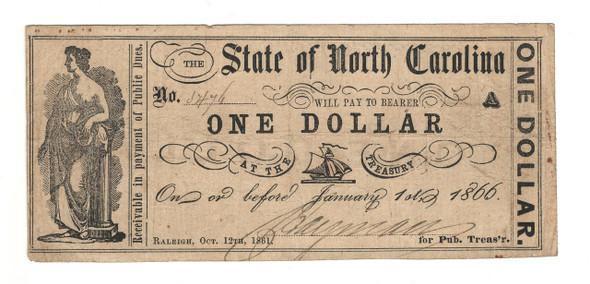 United States: 1866 Dollar State of North Carolina