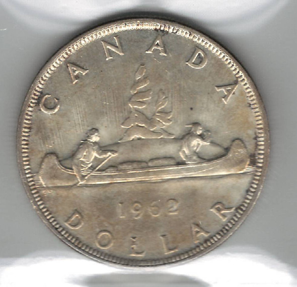 Canada: 1962 Silver Dollar ICCS MS64 Toned