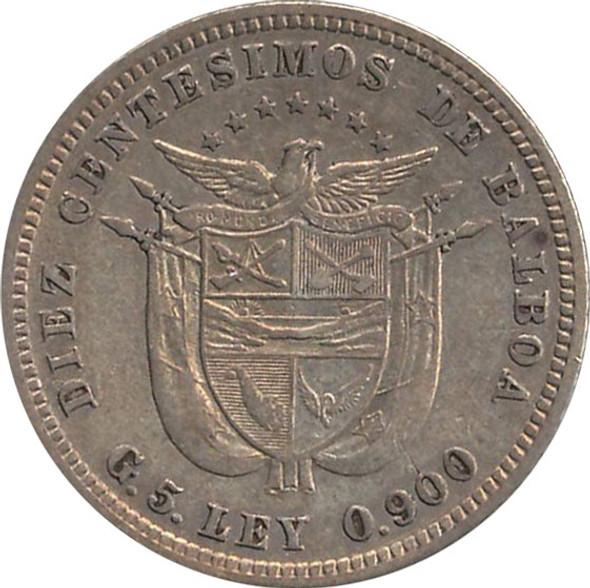 Panama: 1904 Silver 10 Centesimos VF20