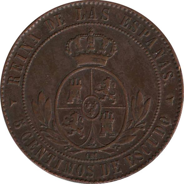 Spain: 1866 5 Cent VF20