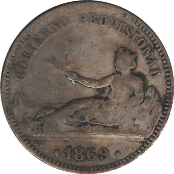 Spain: 1869 Silver Peseta VF20