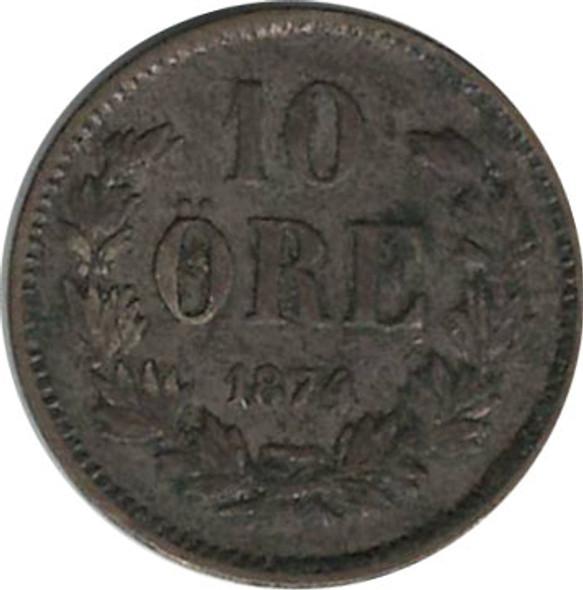 Sweden: 1874 ST Silver 10 Ore VF20