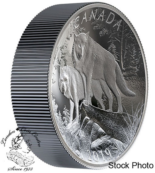Canada: 2019 $100 Wolves: Nature's Grandeur Series 10 oz. Pure Silver Double-Concave Coin
