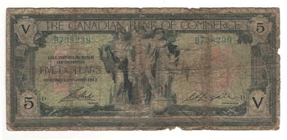 Canada: 1917 $5 Banknote - The Canadian Bank of Commerce B738239
