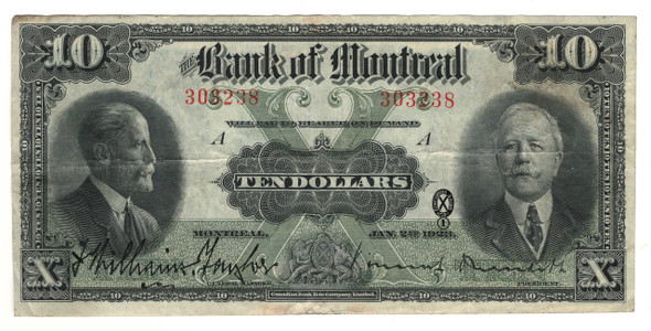 Canada: 1923 $10 Banknote - Bank of Montreal 303238