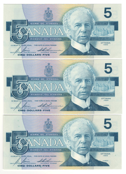 Canada: 1986 $5 Bank Of Canada Banknotes GOZ - 3 Notes in Sequence