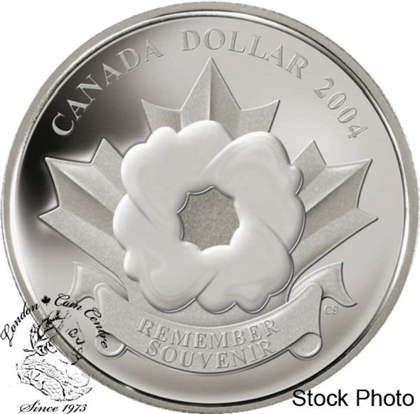 """Canada: 2004 $1 """"The Poppy"""" Armistice Day Commemorative Proof Silver Dollar Coin *Outer Box Has Rip**"""