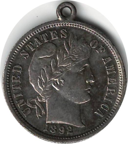 """Love Token: """"ASJ"""" On US 1892, 10 Cent Host Coin"""