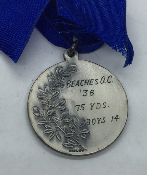 Canada: 1936 Beaches Olympic Club 75 Yds. 14 Years Silver Medal