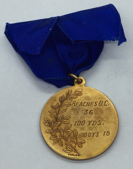 Canada: 1936 Beaches Olympic Club 100 Yds. 18 Years Gold Medal