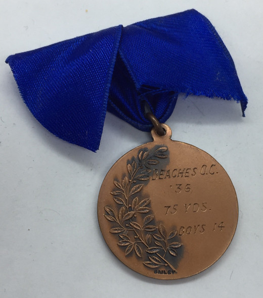 Canada: 1936 Beaches Olympic Club 75 Yds. Boys 14 Years Bronze Medal