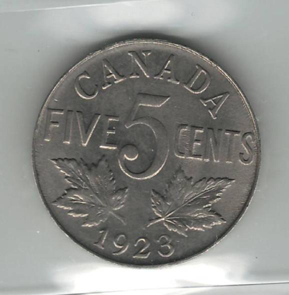 Canada: 1923 Nickel 5 Cent ICCS AU55
