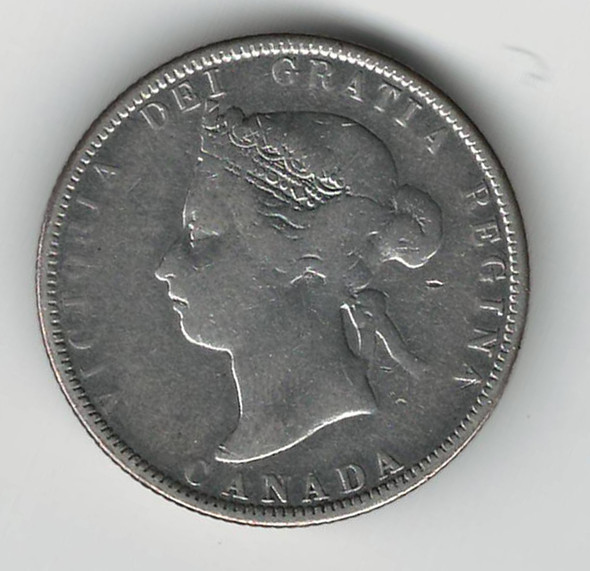 """Love Token: """"AMF 1886"""" on Victorian Canadian 25 Cent Host Coin"""