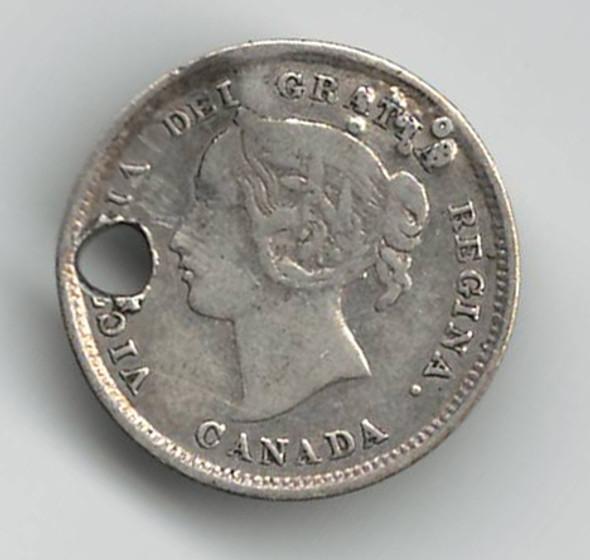 "Love Token: ""Arthur"" on Victorian Canadian 5 Cent Host Coin"
