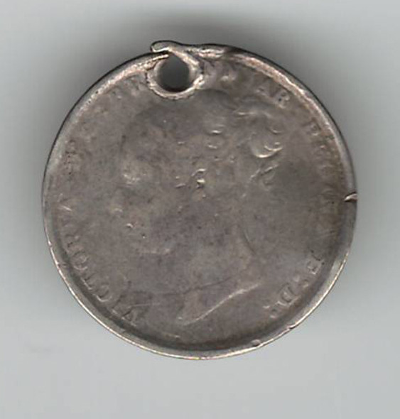 """Love Token: """"Auntie Polly"""" On Great Britain 3 Pence Host Coin"""