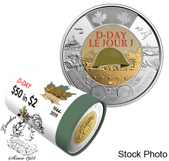 Canada: 2019 Coloured $2 Special Wrap Roll: 75th Anniversary of D-Day