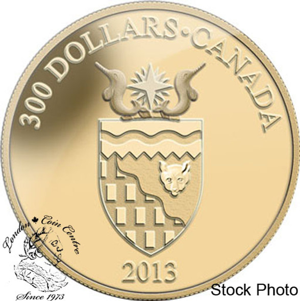 Canada: 2013 $300 Northwest Territories Coat of Arms 14KT Gold Coin