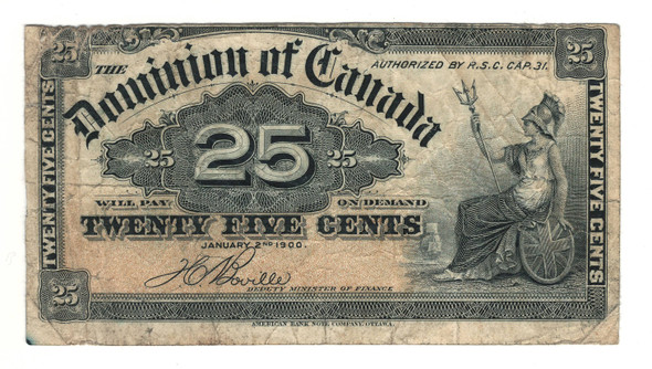 Canada: 1900 25 Cent Banknote Dominion of Canada DC-15b Lot#38