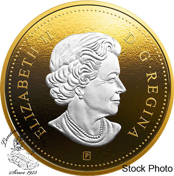Canada: 2019 Big Coin Series: 1 Cent 5 oz. Pure Silver Reverse-Gold Plating Coin