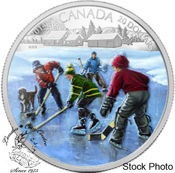 Canada: 2014 $20 Pond Hockey Coloured Silver Coin