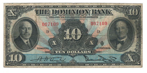 Canada: 1931 $10 Banknote - The Dominion Bank 007109