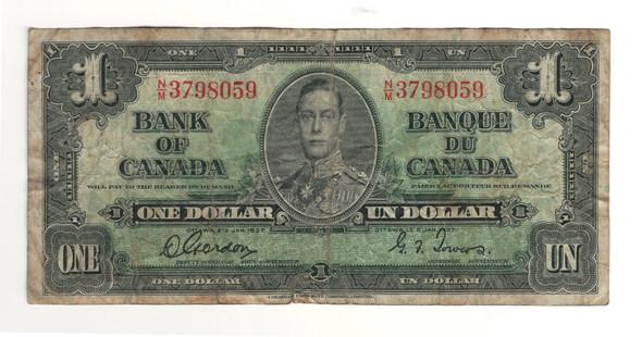 Canada: 1937 $1 Bank Of Canada Banknote BC-21c Lot#30